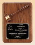 American Walnut Plaque with Walnut Gavel Achievement Awards