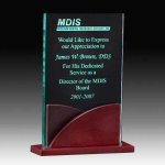 Jade Acrylic Award with Rosweood Base Acrylic Awards Trophy Wood