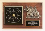 Fireman Award Clock with Antique Bronze Finish Casting. Award Plaques