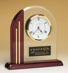 Arched Clock with Rosewood Piano Finish Post and Base Boss' Gifts