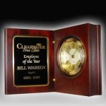 Rosewood Finish Book Clock Boss' Gifts