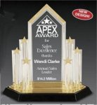 Star Acrylic Trophy Award with Engraved Center Piece Corporate Acrylic Awards Trophy