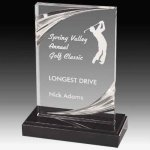 Clear Acrylic Trophy Award with Routed Accents and Black Marble Base Corporate Acrylic Awards Trophy