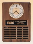 American Walnut Vertical Wall Clock / Perpetual Plaque Employee Awards