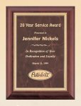Cherry Finish Wood Plaque with Ruby Marble Plate Employee Awards
