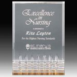 Clear Acrylic Trophy Award with Gold Tint and Routed Accents Employee Awards