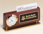 Rosewood Piano Finish Clock With Business Card Holder Executive Gifts