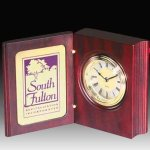 Rosewood Finish Book Style Clock Executive Gifts
