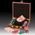 Poker Chips, Cards and Dice  Kit in Rosewood Case Executive Gifts