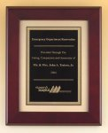 Rosewood Piano Finish Plaque with Florentine Plate Executive Plaques