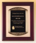 Rosewood Piano Finish Plaque Cast Frame Executive Plaques