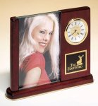 Rosewood Piano Finish Photo Desk Clock Mantel Clocks