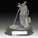 Pewter Finish Golf Bag Trophy Resin Trophies